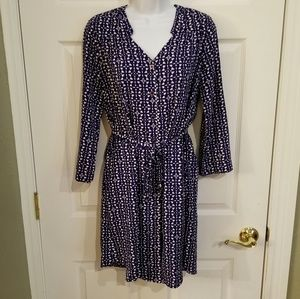 41 Hawthorn Navy & White belted shirt dress